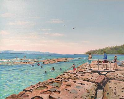 Painting - Rock Pool At Currarong by Anne Gardner