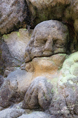 Rock Altar Photograph - Rock Relief - Detail Of A Praying Angel by Michal Boubin