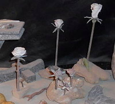 Hand Carved Sculpture - Rock Roses by Robert Davis
