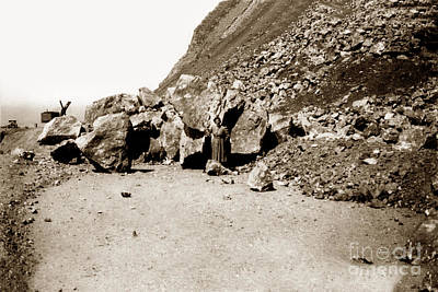 Photograph - Rock Slide On Highway One Big Sur, Cal Circa 1930 by California Views Mr Pat Hathaway Archives