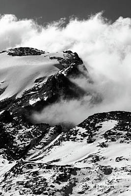 Photograph - Rock Snow Ice And Cloud 1 by James Brunker