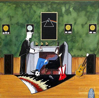 Painting - Rock Star Sitting In Chair Served A Sundae By Butler by John Lyes
