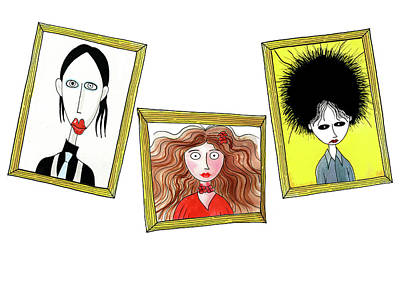 Caricature Wall Art - Drawing - Rock Stars  by Andrew Hitchen