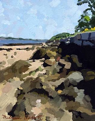 Rock Wall Looking South On Ten Pound Island, Gloucester, Ma Art Print