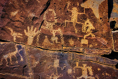 Tribal Photograph - Rock Wall Of Petroglyphs by Garry Gay