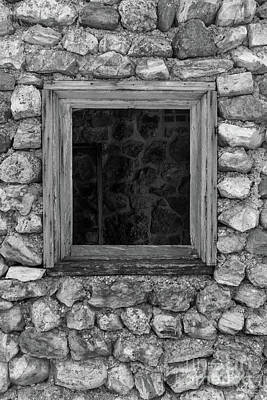 Photograph - Rock Wall Window Grayscale by Jennifer White
