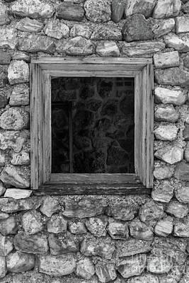 Photograph - Rock Wall Window Grayscale by Jennifer White