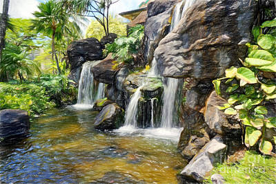 Photograph - Rock Waterfalls In Hawaii by Sue Melvin