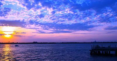 Rockaway Point Dock Sunset Violet Orange Art Print by Maureen E Ritter