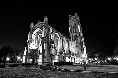Light And Dark Photograph - Rockefeller Chapel - B And W by CJ Schmit