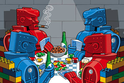 Lego Digital Art - Rockem Sockem Poker Night by Ron Magnes