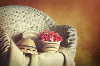 Wicker Photograph - Rocker With Bowls by Tom Mc Nemar