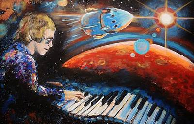 Elton John Wall Art - Painting - Rocket Man by Shannon Lee