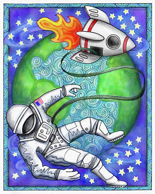 Drawing - Rocketman by Jennifer Allison