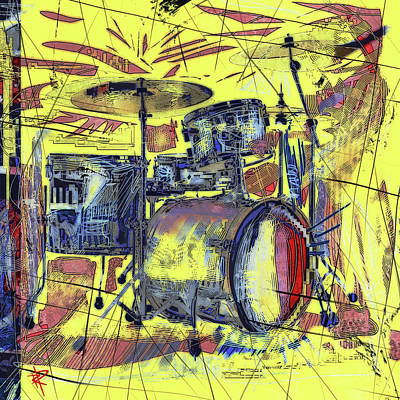 Drummer Mixed Media - Rockin Drums by Russell Pierce