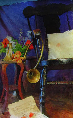 Flower Still Life Mixed Media - Rocking Chair And Horn No. 3 by Reid Hitzeman
