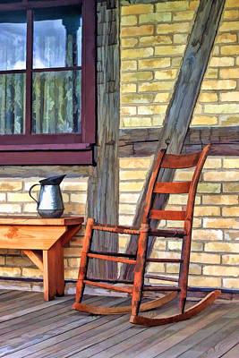 Rocking Chairs Painting - Rocking Chair On Porch At Old World Wisconsin by Christopher Arndt