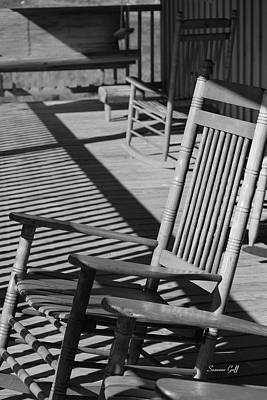 Rocking Chairs Photograph - Rocking Chair Porch In Black And White by Suzanne Gaff