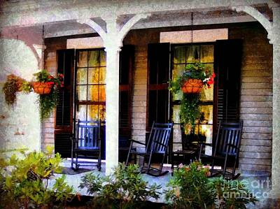 Rocking Chairs On A Country Porch  Art Print by Janine Riley