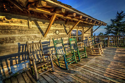 Photograph - Rocking Chairs On The Porch In The Sun by Debra and Dave Vanderlaan