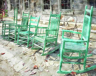 Digital Art - Old Rocking Chairs - Smoky Mountains  by Rebecca Korpita
