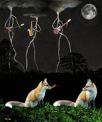 Mixed Media - Rocking Foxs by Eric Kempson