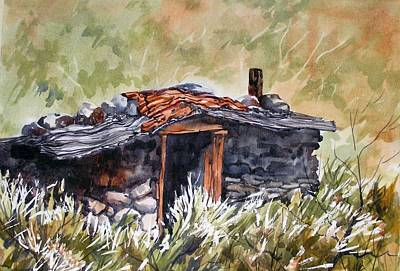 Art Print featuring the painting Rocking Miners Cabin by Pat Crowther