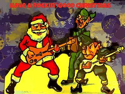 Rocking Roll Christmas Card Print by John Malone