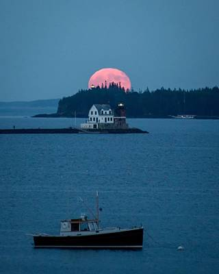 Penobscot Bay Photograph - Rockland Harbor Full Moon by Tim Sullivan