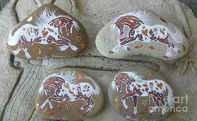 Mixed Media - Rock'n'ponies - Autumn Ponies by Louise Green