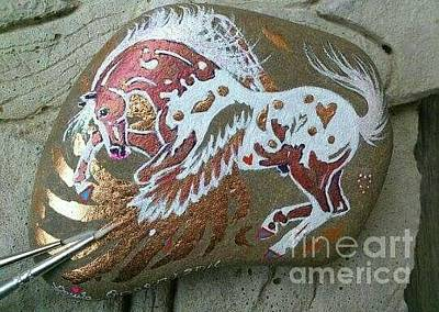Mixed Media - Rock'n'ponies - Copper Leaf Pegasus by Louise Green