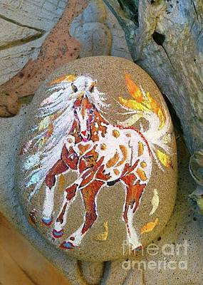 Mixed Media - Rock'n'ponies - Pony Of The Falling Leaves by Louise Green
