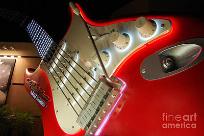 Photograph - Rocknroller Coaster With Aerosmith Neon Guitar Hollywood Studios Walt Disney World Prints by Shawn O'Brien