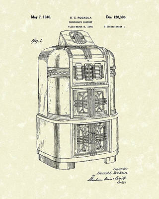 Drawing - Rockola Phonograph Cabinet 1940 Patent Art by Prior Art Design
