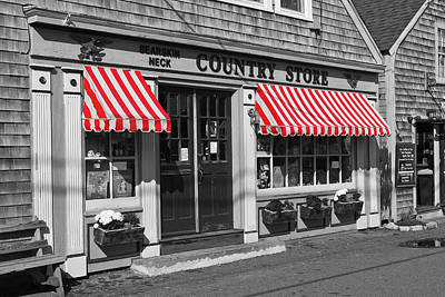 Photograph - Rockport Country Store - Bw by Lou Ford