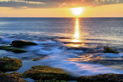 Photograph - Rockport Golden Sunset Ma. by Michael Hubley