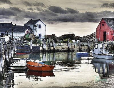 Rockport Harbor Early Morning Art Print by Tom Cameron