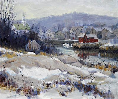 Motif 1 Painting - Rockport Harbor In Winter by Chris Coyne