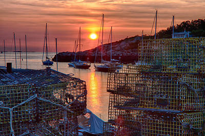 Digital Art - Rockport Lobster Pots And Sailboats At Sunrise by Jeff Folger