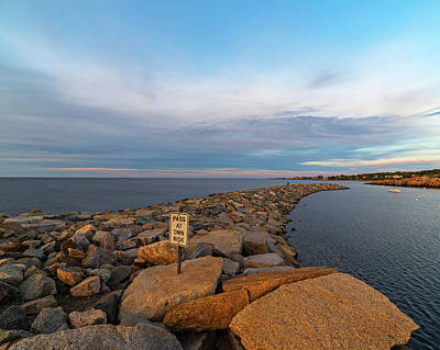 Rockport Ma Photograph - Rockport Ma Breakwater Pass At Your Own Risk by Toby McGuire