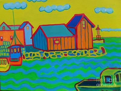 Blue Bouys Painting - rockport Motif by Debra Bretton Robinson