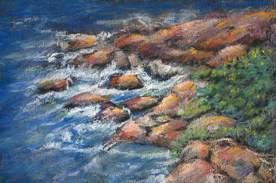 Pastels Pastel - Rocks Along The Shore by Arline Wagner