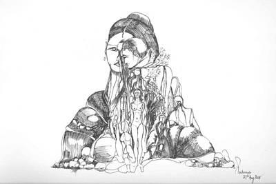 Art Print featuring the drawing Rocks And Bodies by Padamvir Singh