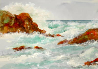 Painting - Rocks And Ocean by Becky Taylor