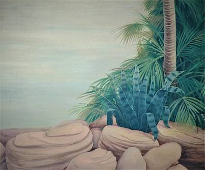 Rocks And Palm Tree Art Print