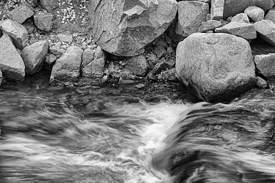 Photograph - Rocks And Rushing Mountain Stream - Black And White - Monochrome by Ram Vasudev
