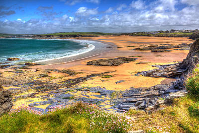 Trevone Photograph - Rocks And Sand Harlyn Bay Beach North Cornwall England Uk Near Padstow And Newquay by Michael Charles