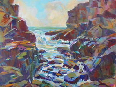 Maine Colorfull Seacoast Original by Linda Emerson