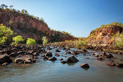 Photograph - Rocks And Trees Blocking The River At Katherine Gorge, Australia  by Daniela Constantinescu