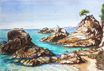 Rocks At Kalamaki Art Print by Yvonne Ayoub